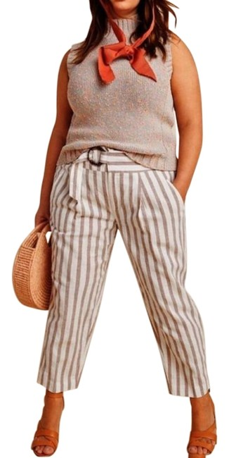 Item - White & Tan Oasis Striped Linen Blend Pants Size 24 (Plus 2x)
