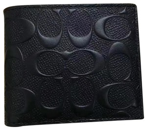 Coach Coach Men's F75371 Compact ID Signature Embossed Black Leather Wallet