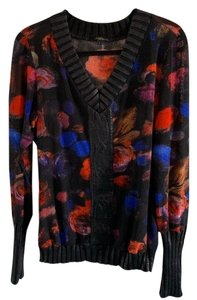 Alberto Makali Top Black With Multicolor Flower Pattern