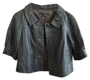 Theory Gray Leather Jacket