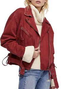 Free people Freepeoplejacket Freepeopledenim Motojacket Wine Womens Jean Jacket