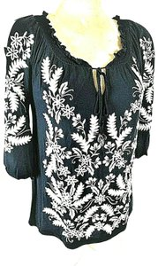 INC International Concepts Embroidered Peasant Rhinestones Top Women's Blue Embellished