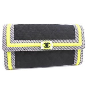 Chanel Chanel Boy Canvas Black Ladies Wallet