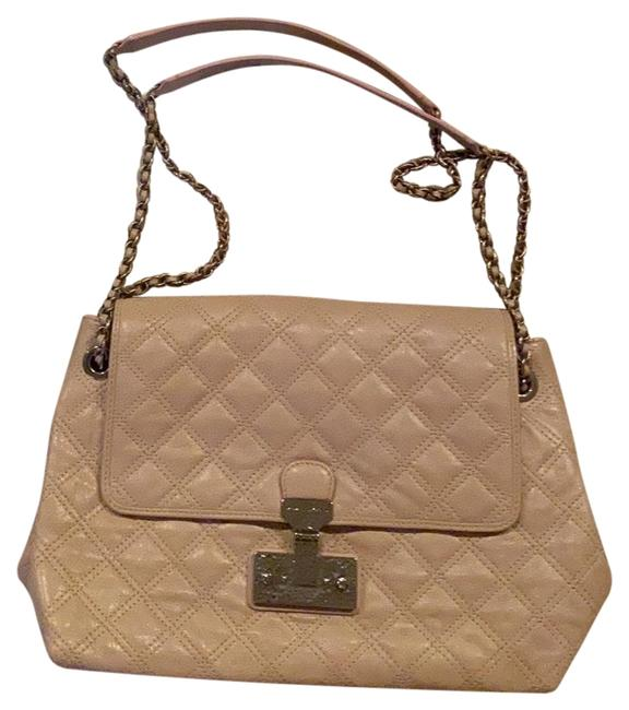 Item - XL Quilted Baroque Shoulder Handbag Nude/Blush with Silver Hardware Leather Cross Body Bag