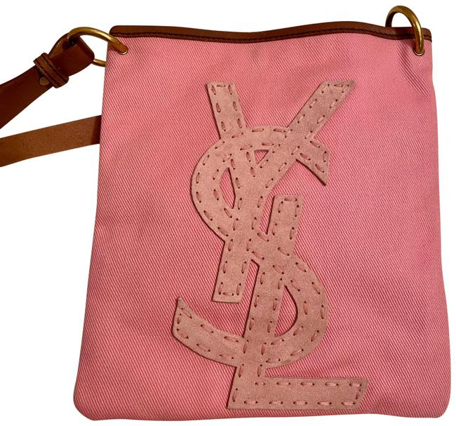 Item - Ysl Logo Rive Gauche Seville Sac Pink and Brown Canvas Suede Cross Body Bag