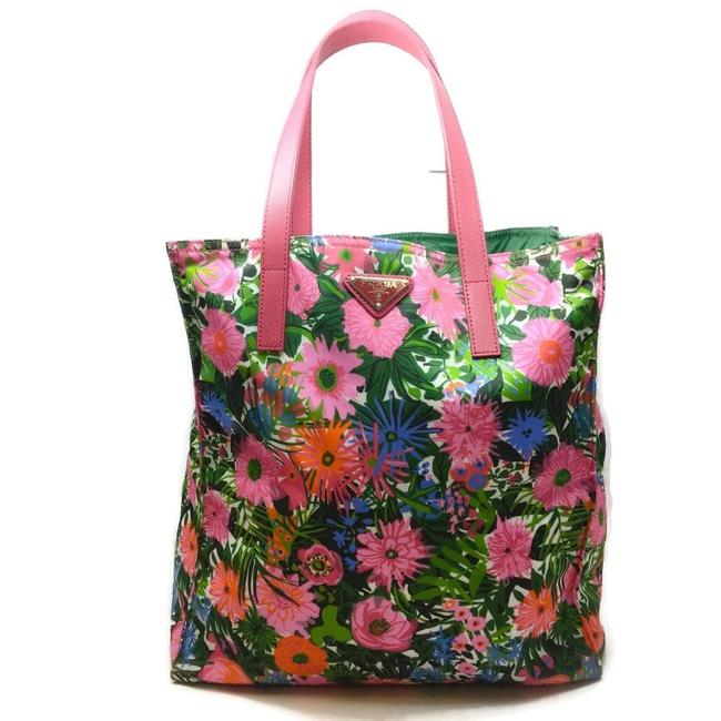 Item - Floral Pink and Green Multi Nylon Tote