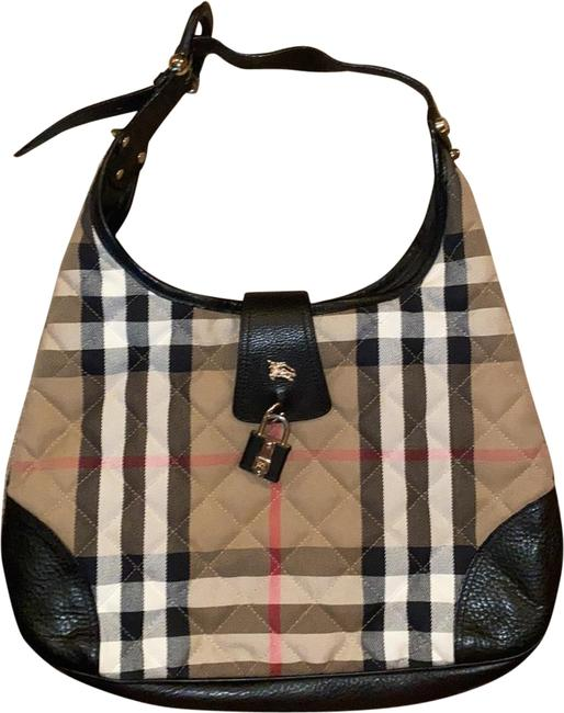 Item - Brooke Black Tan Red and White Canvas Leather with Gold Hardware Hobo Bag