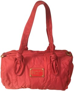 Marc Jacobs Logo Inside Pocket Insignia Nameplate Mint Condition Satchel in Bright Coral