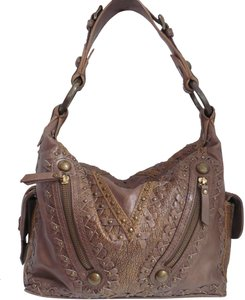Isabella Fiore Leather Lace Studded Slouchy Hobo Bag