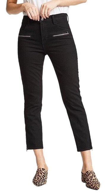 Item - Black Dark Rinse Ruby Zip Pocket Vanished Moto Crop Capri/Cropped Jeans Size 00 (XXS, 24)