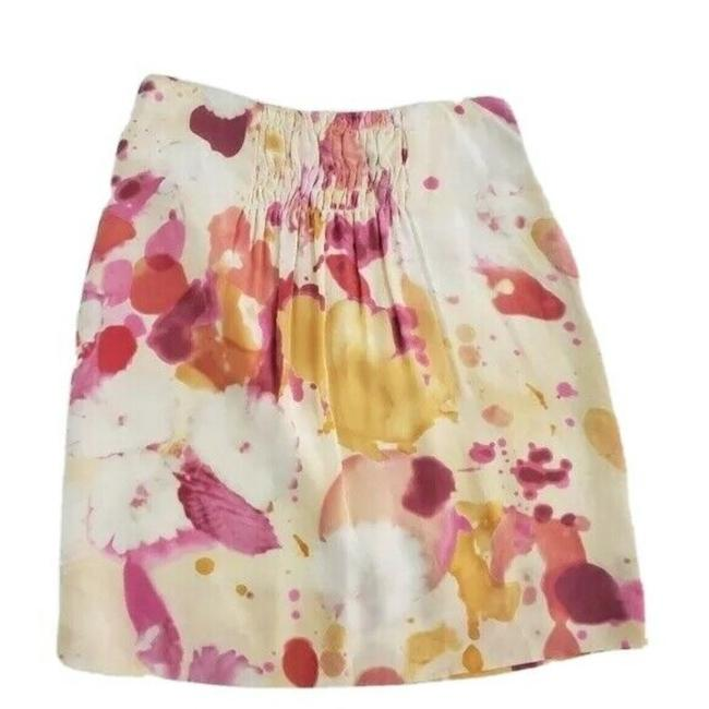 Item - Pink Cream Silk Aline Front Pleat Spring Watercolor Floral Skirt Size 6 (S, 28)