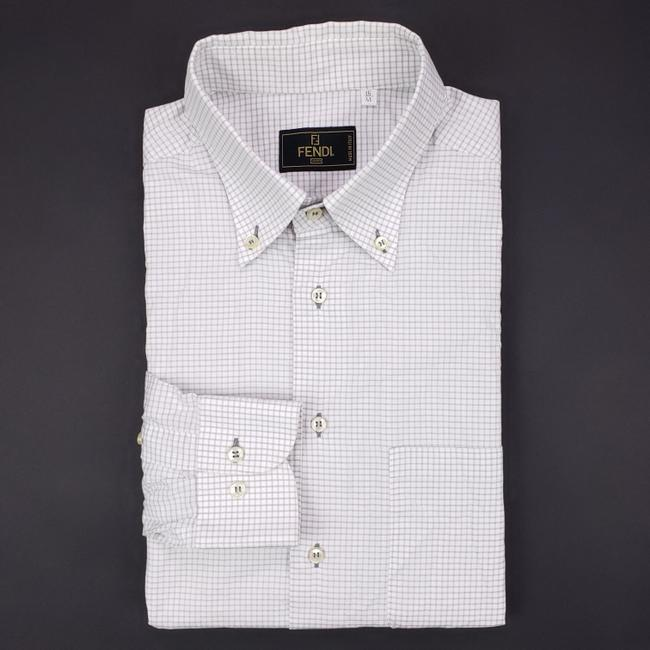 Item - White Gray Checked Mens 16 41 Micro Check Mens Italy Size Butto Shirt