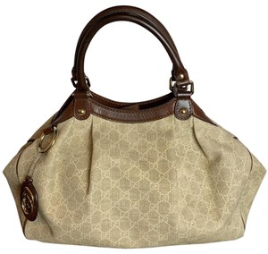 Gucci Tote in cream with brown leather trim