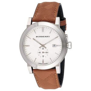 Burberry Burberry The City Brown Embossed Check Leather Silver Watch BU9904