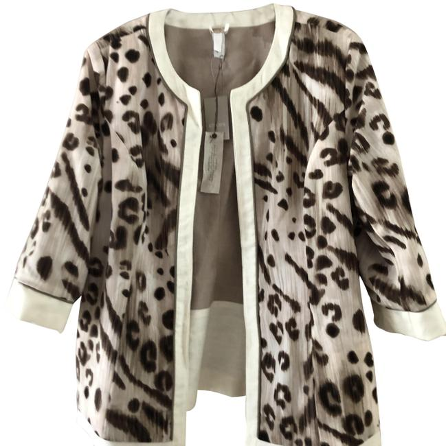 Item - Taupe /White Animal Lynette Pattern Jacket -reversible Blazer Size 8 (M)