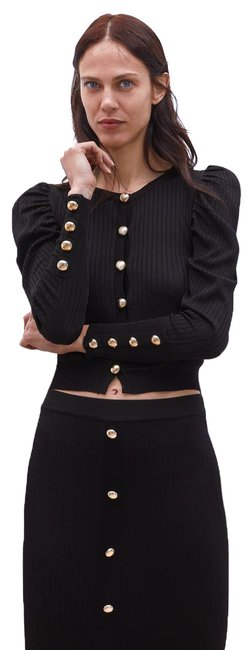 Item - Black Balloon Sleeve with Buttons Cardigan Size 6 (S)