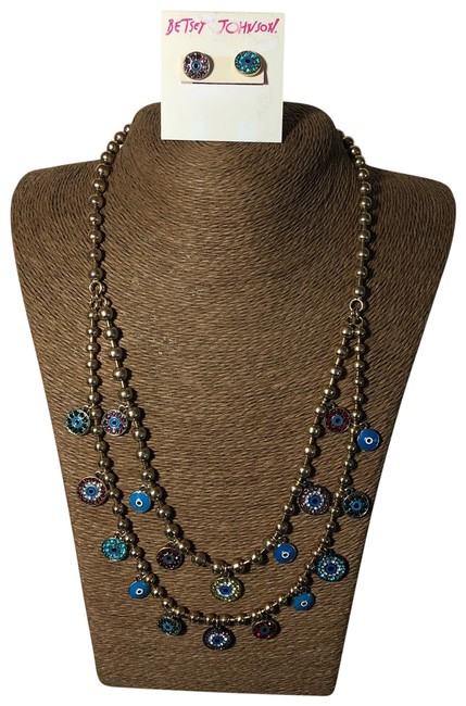 Item - Gold Colorful Rhinestone Cirlces Necklace & Earrings Set