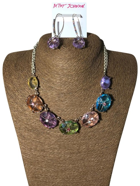 Item - Gold Colorful Oval-shaped Stones Necklace and Earrings Set