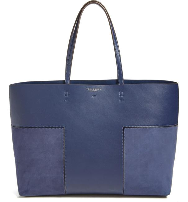 Item - Block-T T New Leather and Suede True Navy Tote