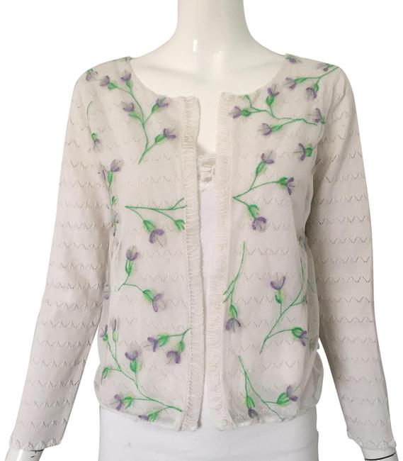 Item - White Embroidery Mesh Overlay Cardigan Size 4 (S)