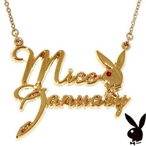 Playboy Playboy Necklace Bunny Pendant Gold Plated Crystal MISS JANUARY