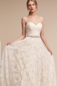 BHLDN Ivory Champagne Lace Freesia Gown Whispers & Echoes Feminine Wedding Dress Size 2 (XS)