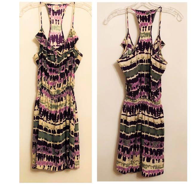 Item - Off-white Purple Green Silk Racerback White Abstract Print Short Casual Dress Size 10 (M)