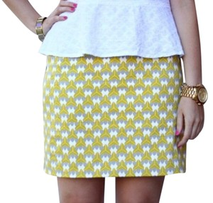 Banana Republic Millycollection Summer Geometric Mini Skirt Chartreuse Gray White