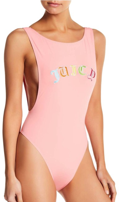 Item - Peach Pink Black Label Gothic Logo Embroidered Swimsuit One-piece Bathing Suit Size 8 (M)