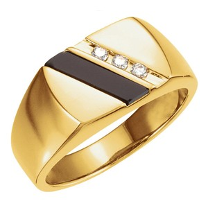 Yellow 0.10 Ct Round and Onyx Ring Men's Wedding Band