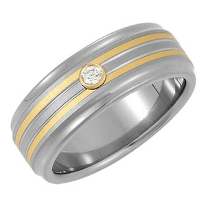 White and Yellow 0.10 Ct Round Two Tone Men's Wedding Band