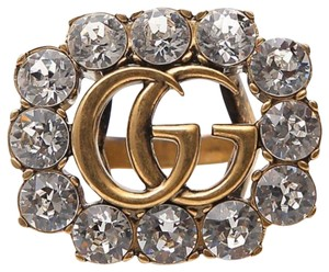 Gucci Marmont Gg Logo Crystal Gold Tone Ring