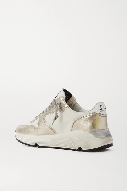 Golden Goose Deluxe Brand White Silver Running Sole Distressed Metallic Leather Sneakers Size EU 35 (Approx. US 5) Regular (M, B) Golden Goose Deluxe Brand White Silver Running Sole Distressed Metallic Leather Sneakers Size EU 35 (Approx. US 5) Regular (M, B) Image 3