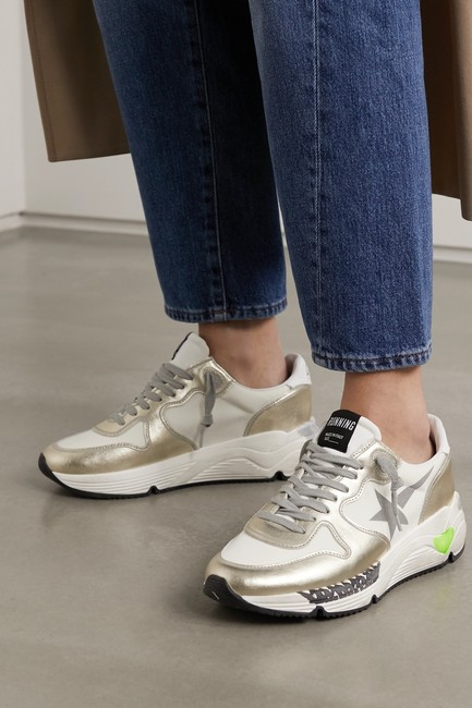 Golden Goose Deluxe Brand White Silver Running Sole Distressed Metallic Leather Sneakers Size EU 35 (Approx. US 5) Regular (M, B) Golden Goose Deluxe Brand White Silver Running Sole Distressed Metallic Leather Sneakers Size EU 35 (Approx. US 5) Regular (M, B) Image 4