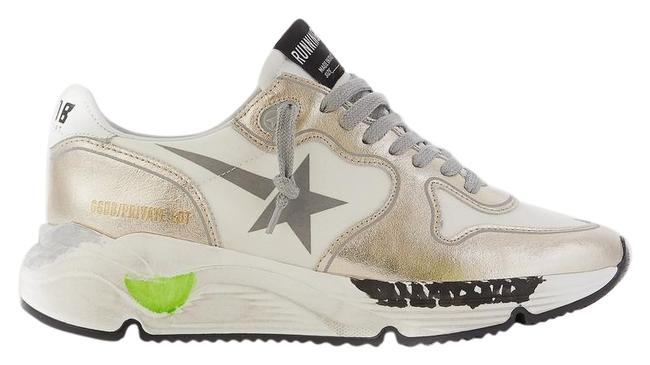 Golden Goose Deluxe Brand White Silver Running Sole Distressed Metallic Leather Sneakers Size EU 39 (Approx. US 9) Regular (M, B) Golden Goose Deluxe Brand White Silver Running Sole Distressed Metallic Leather Sneakers Size EU 39 (Approx. US 9) Regular (M, B) Image 1