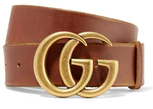 Gucci NEW GUCCI 85 CM BROWN LEATHER GG GOLD BELT THICK NEW LOGO