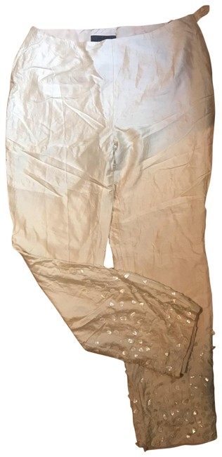 Les Copains Cream Beaded Pants Size 8 (M, 29, 30) Les Copains Cream Beaded Pants Size 8 (M, 29, 30) Image 1