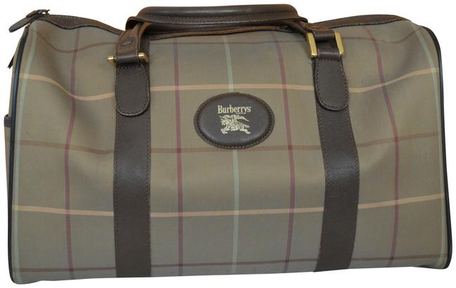 Item - Boston Gray Brown Canvas Leather Weekend/Travel Bag