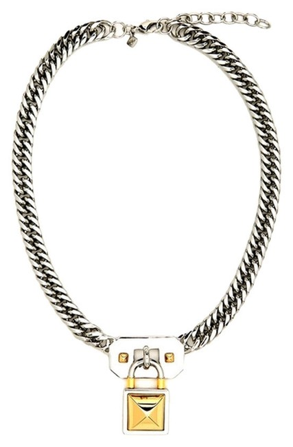 Item - Brass and Silver New Pyramid Lock Chain Necklace