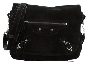 Balenciaga Suede Black Messenger Bag