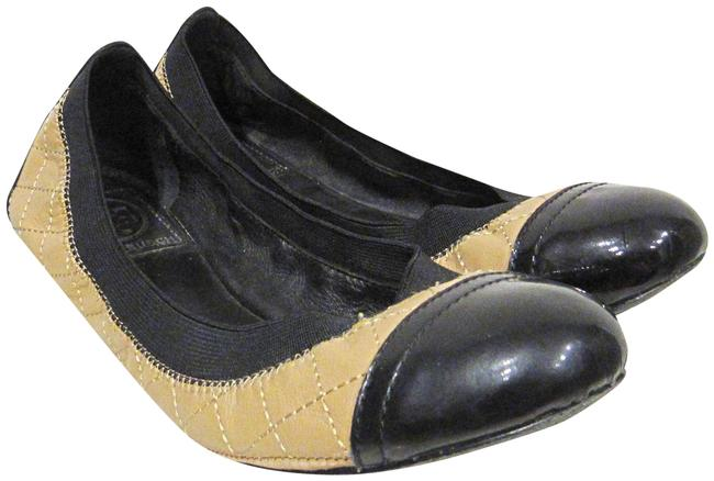 Item - Tan Black Carrie Quilted Leather Cap Flats Size US 7 Regular (M, B)