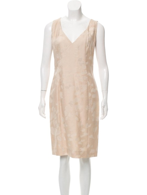 Item - Beige Abstract Sleeveless Mid-length Cocktail Dress Size 6 (S)