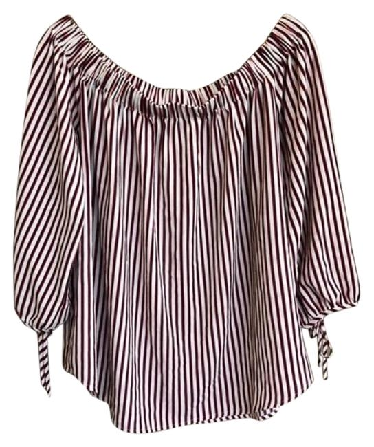 Item - Red Blue Perch By Off The Shoulder Stripe Blouse Size 22 (Plus 2x)