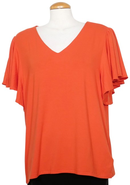 Item - Orange Jersey Flutter Sleeve Stretch 1x Blouse Size 20 (Plus 1x)