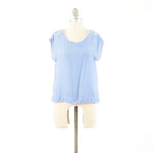Cut Loose Cap Sleeve Button Back Silk T-shirt Top Blue