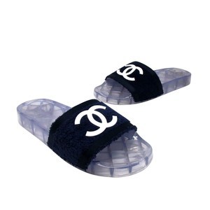 Chanel Graffiti Cambon Gucci Espadrille Flats Navy Blue Sandals