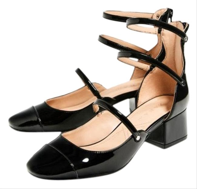 Item - Black Glossy Strappy Chunky Heels Formal Shoes Size US 6 Regular (M, B)