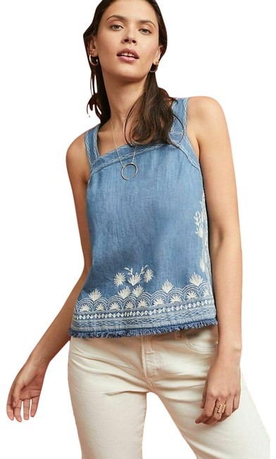 Item - New Blue Meadow Rue Embroidered Denim Halter Top Size 0 (XS)