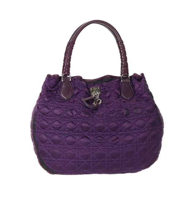 Item - Charming Tote Purple Satin Cannage Quilted Leather Shoulder Bag