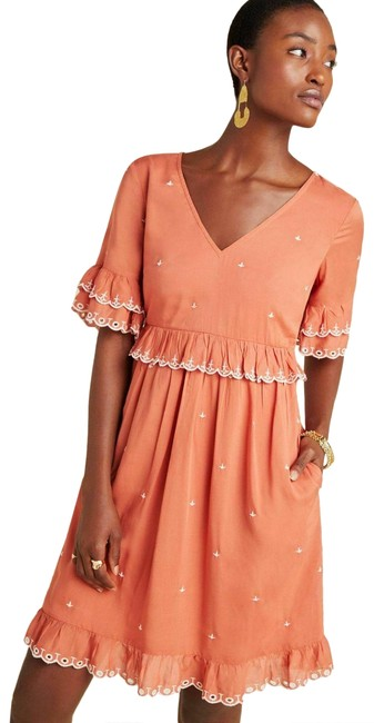 Item - New Rusitc Pink Samia Ruffled Embroidered Embellished Bell Sleeve Tunic Short Casual Dress Size 6 (S)